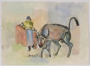 "Rudolf Raimund BALLABENE - Drawing-Watercolor - ""Corrida"", Watercolour, 1930's"