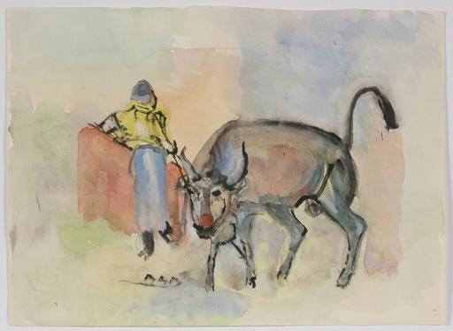 """Rudolf Raimund BALLABENE - Dibujo Acuarela - """"Corrida"""", Watercolour, 1930's"""