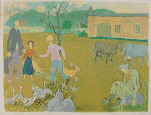 Grégoire MICHONZE - Print-Multiple -  Village Scene, Provence