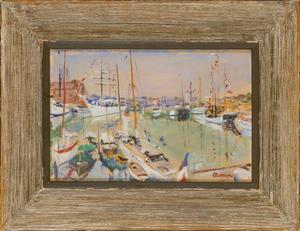 Lucien ADRION - Painting - Harbor scene