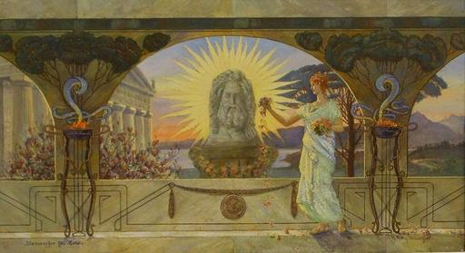 Richard RATTAY - 绘画 - Blumenopfer für Zeus