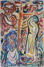 René PORTOCARRERO - Pintura - Crucifixión (Crucifixion)
