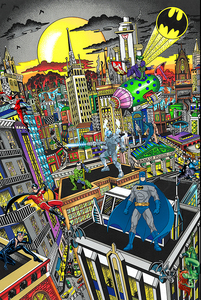 Charles FAZZINO - Grabado - Batman rules the night