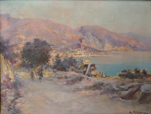 Raymond ALLEGRE - Painting - menton la baie de garavan
