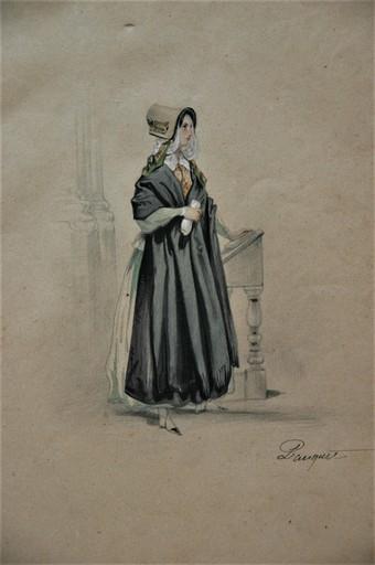 Hippolyte Louis Em. PAUQUET - Zeichnung Aquarell - Femme au pupitre