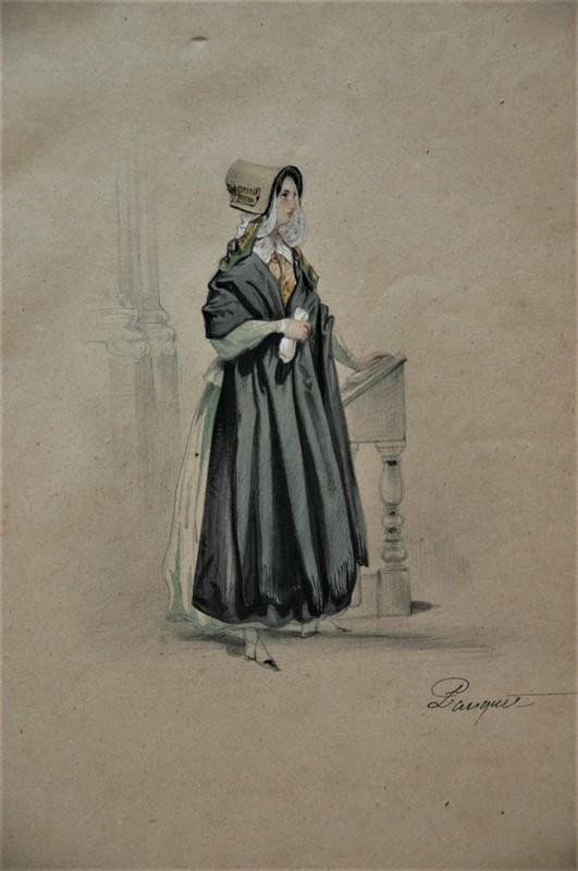 Hippolyte Louis Em. PAUQUET - Dibujo Acuarela - Femme au pupitre