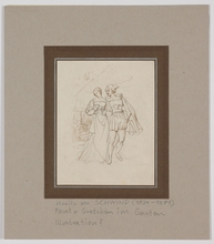 """Moritz VON SCHWIND - Drawing-Watercolor - """"Faust and Gretchen"""", early 19th century"""
