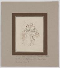 "Moritz VON SCHWIND - Dibujo Acuarela - ""Faust and Gretchen"", early 19th century"