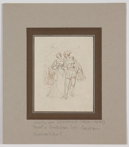 "Moritz VON SCHWIND - Dessin-Aquarelle - ""Faust and Gretchen"", early 19th century"