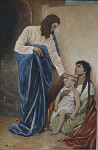 Abraham A. ZWAHLEN - Painting - Jésus Christ guérissant un enfant dans les bras de sa mère.