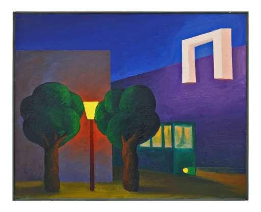 SALVO - Pittura - Tram, due piante, lampioni