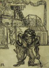 Conrad FELIXMÜLLER - Grabado - The Old Collier | Der alte Kohlenarbeiter