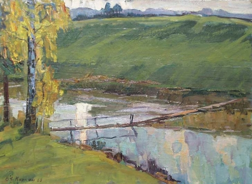 "Vassili KARKOTS - Pintura - ""Neglected Bridge"", Oil Painting by Vasili Karkots, 1963"