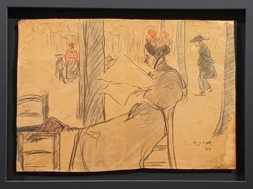 Isidro NONELL Y MONTURIOL - Drawing-Watercolor - Mujer leyendo en el parque