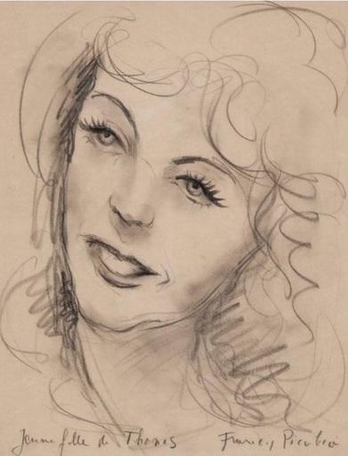 Francis PICABIA - Dibujo Acuarela - Jeune fille de Thones