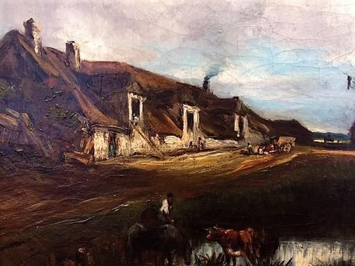 Léon Victor DUPRÉ - Painting - Ferme à la mare