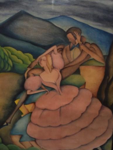 Felix RAMOS - Painting - Gouache Romantic Scene