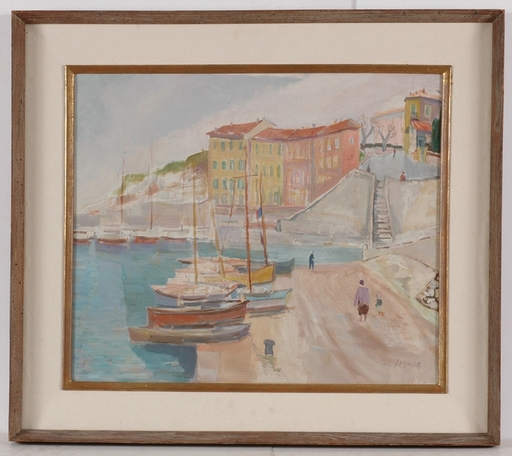 """Frederick SERGER - Painting - """"Mediterranean Town"""", 1950's, Oil painting"""