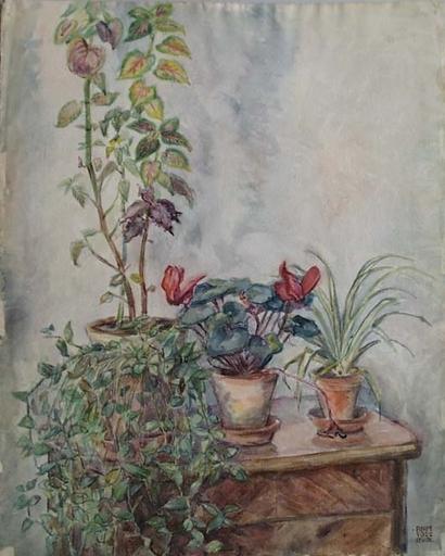 """Rudolf BLUM - Zeichnung Aquarell - """"Still Life with Flowers"""" by Rudolf Blum"""
