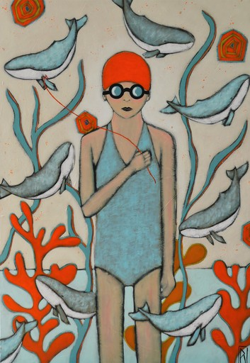 Raoul P. BROSSEAU - Painting - Le chant des baleines