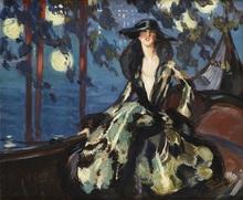 Jean Gabriel DOMERGUE - Painting - Carnaval à Venise, la Duchesse de Gramont sur une gondole