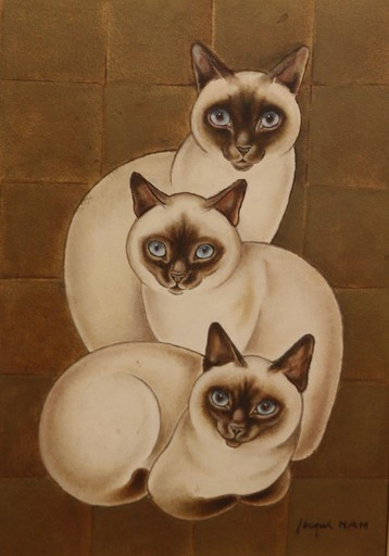 Jacques NAM - 绘画 - Trois chats siamois