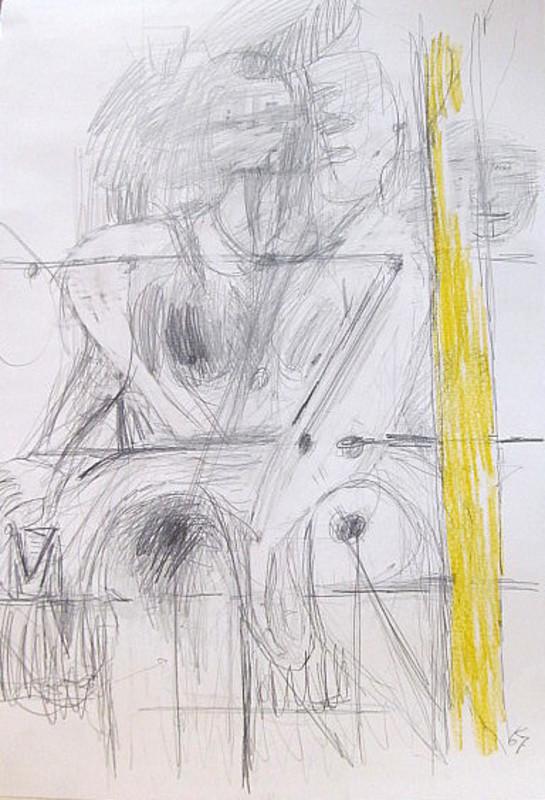 Karl KLUTH - Dibujo Acuarela - Bildskizze Dea Biviae - nackte Frau.