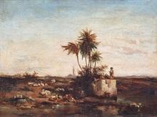 Georges CLAIRIN - Pintura - Herdsman near a watercourse in Egypt  Circa 1895