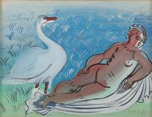 Raoul DUFY - Dessin-Aquarelle - Léda et le cygne