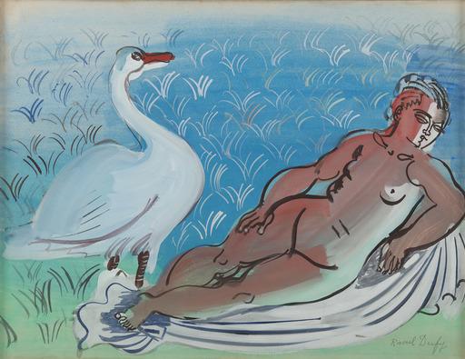 Raoul DUFY - Drawing-Watercolor - Léda et le cygne