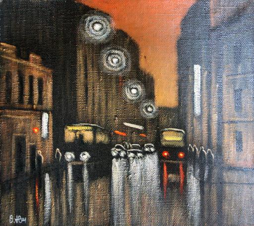 Valeriy NESTEROV - Painting - Night Maroseyka street. Moscow