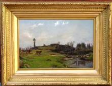 Charles Joseph BEAUVERIE - Pintura - PAYSAN ET SES VACHES AU GUE