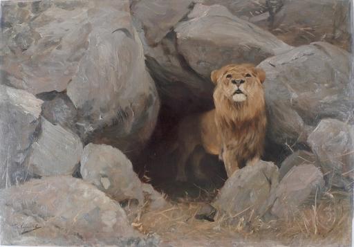 Wilhelm KUHNERT - Painting - LEÓN SALIENDO DE SU CUEVA
