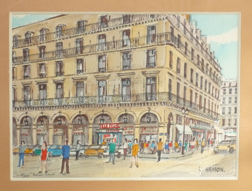 Roland HAMON - Drawing-Watercolor - place palais royal