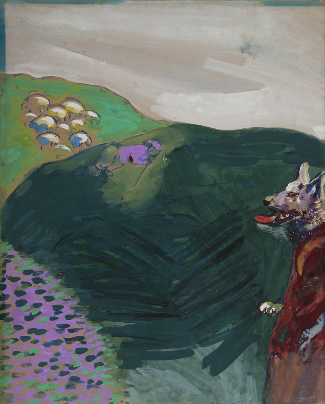 马克•夏加尔 - 水彩作品 - Le Loup devenu berger (Fables de La Fontaine)