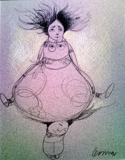 Pedro Pablo OLIVA - Drawing-Watercolor - Viajera