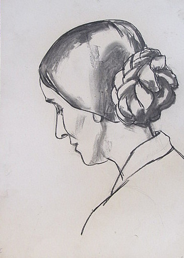 Erich HARTMANN - Disegno Acquarello - #19821: Frauenkopf im Profil.