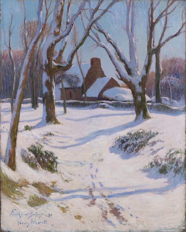 Henry MORET - Peinture - Neige en Bretagne