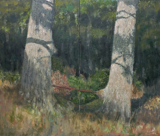 Albert HADJIGANEV - Painting - Forest Bench (Diptych)