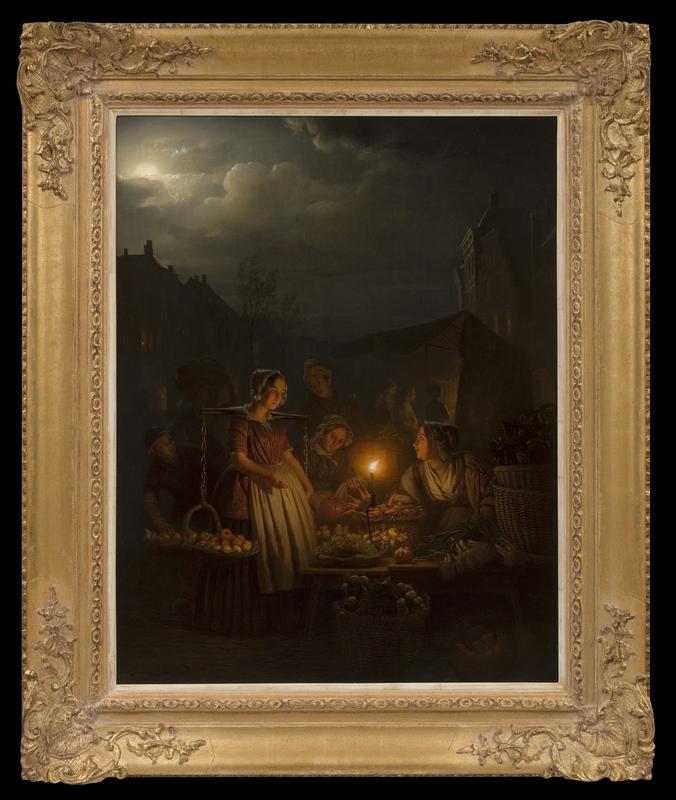 Petrus VAN SCHENDEL - Painting - Evening Market