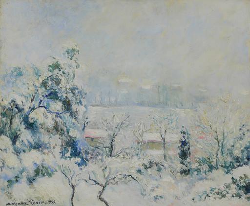 Georges MANZANA-PISSARRO - Painting - Vue de Menton Enneigée