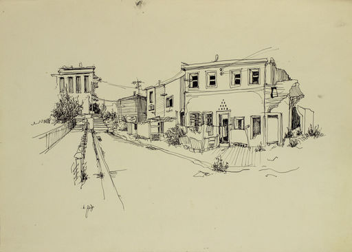 Ya'acov ELCHANANI - 水彩作品 - Corner in Jaffa