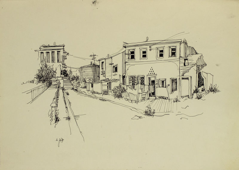 Ya'acov ELCHANANI - Drawing-Watercolor - Corner in Jaffa