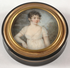 "Pierre Louis BOUVIER - Miniature - Pierre-Loius Bouvier-Attrib. ""Round box with miniature portr"