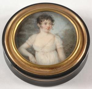 "Pierre Louis BOUVIER - Miniatur - Pierre-Loius Bouvier-Attrib. ""Round box with miniature portr"
