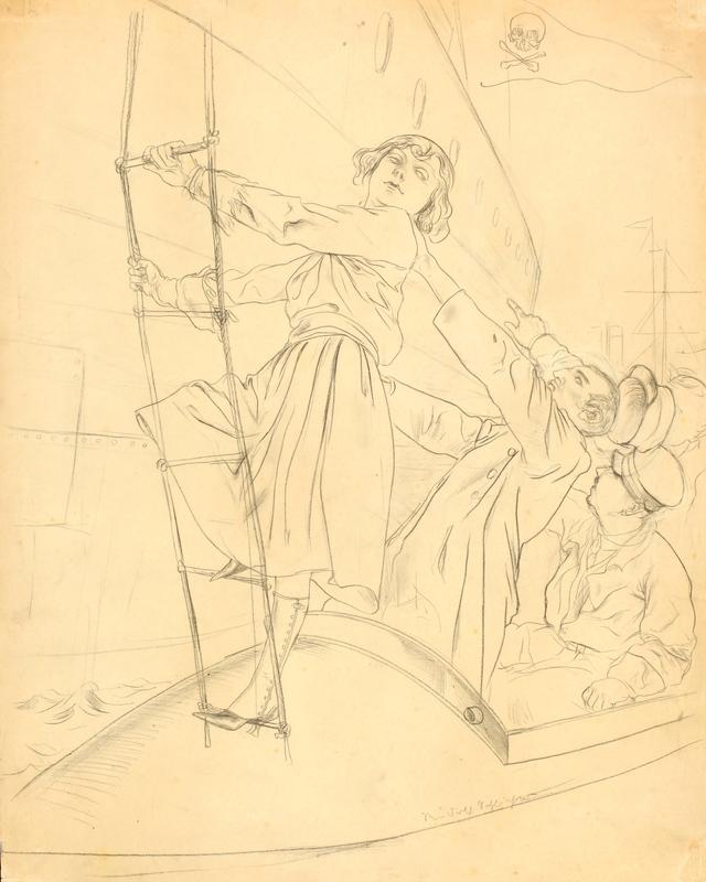Rudolf SCHLICHTER - Dibujo Acuarela - La nave dei pirati