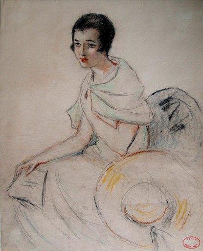 William Albert ABLETT - Disegno Acquarello - Femme au Chale vert/ Frau mit grünem Schal