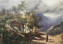 Alexandre CALAME - Drawing-Watercolor - Genève campagne