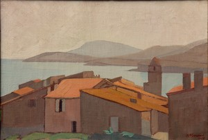 "Maurice SOUDAN - 绘画 - ""LA BAIE DE COLLIOURE EN 1922"""