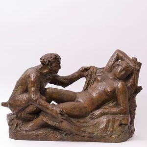 "Hermann HUBACHER - Escultura - ""Satyre éveillant une Nymphe"""